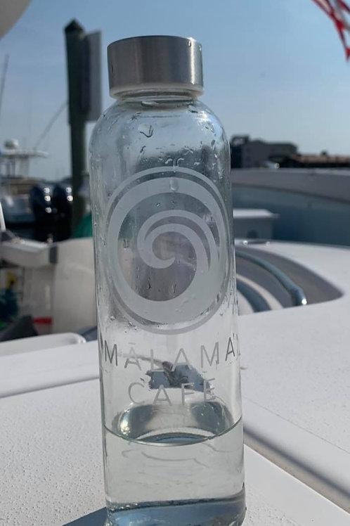 Mālama glass bottle by Sea Glass Designs