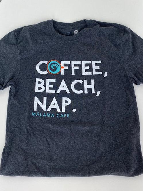 Coffee, Beach, Nap Grey Unisex Soft Tee