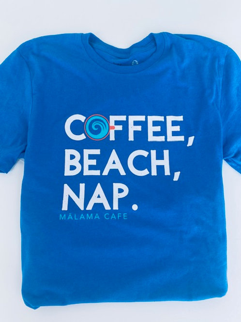 Coffee, Beach, Nap Blue Unisex soft tee