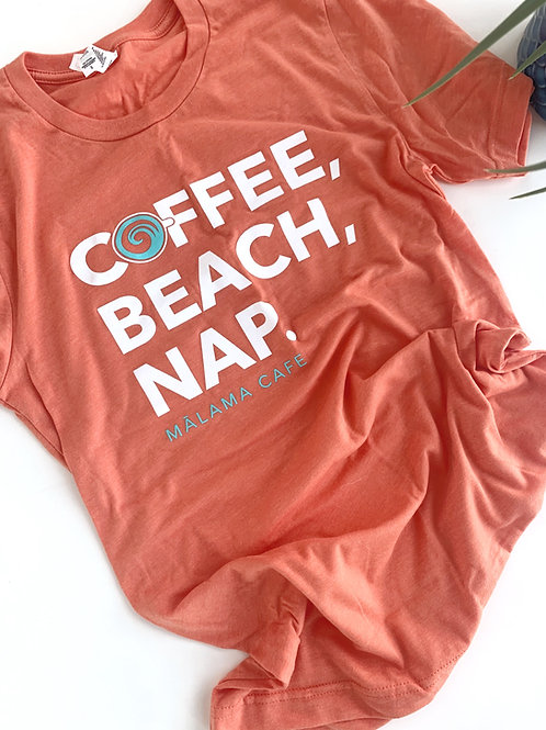 Coffee, Beach, Nap Orange Unisex soft tee