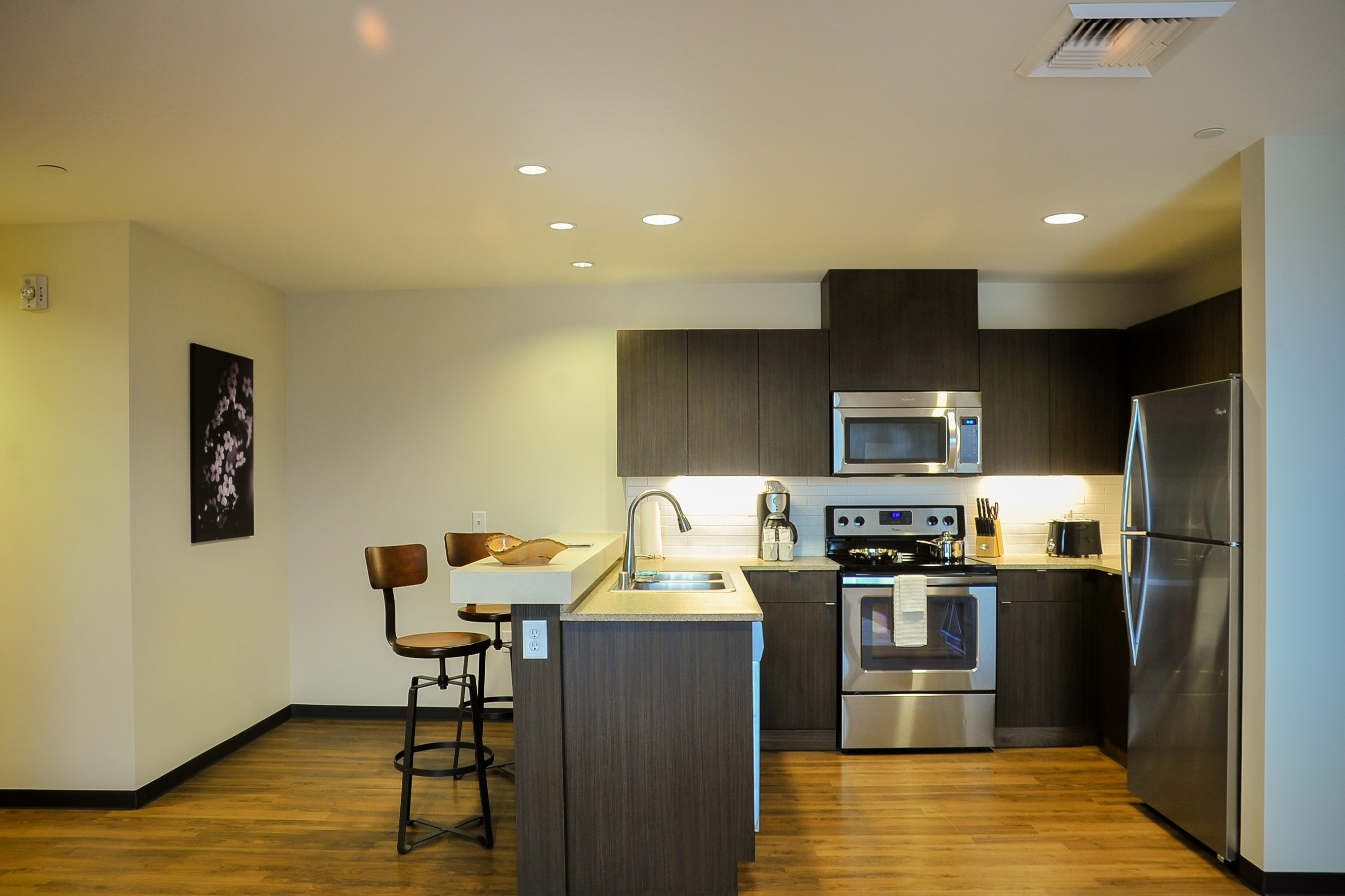A Kitchen in a Ruby Suites unit