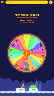 Free Bitcoin Spinner Mobile App Screanshot (BTC)