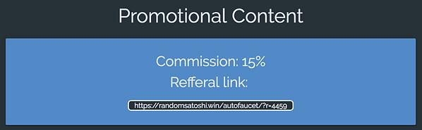 RandomSatoshi Autofaucet Referral Program