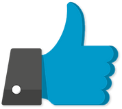 Blue graphic of a thumbs-up