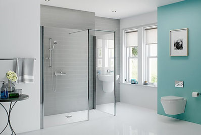 White open plan disabled bathroom with walk-in shower