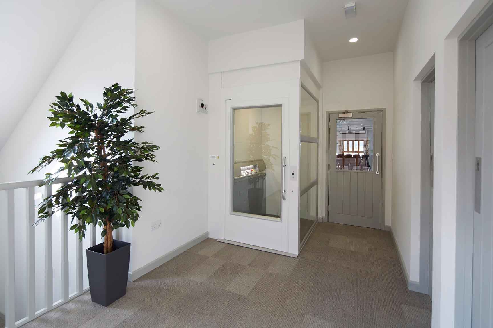 Home lift in upstairs hallway