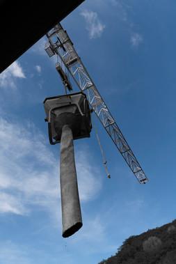 Suivi de chantier, grue, benne à béton, residence de Tindu A, Noumea