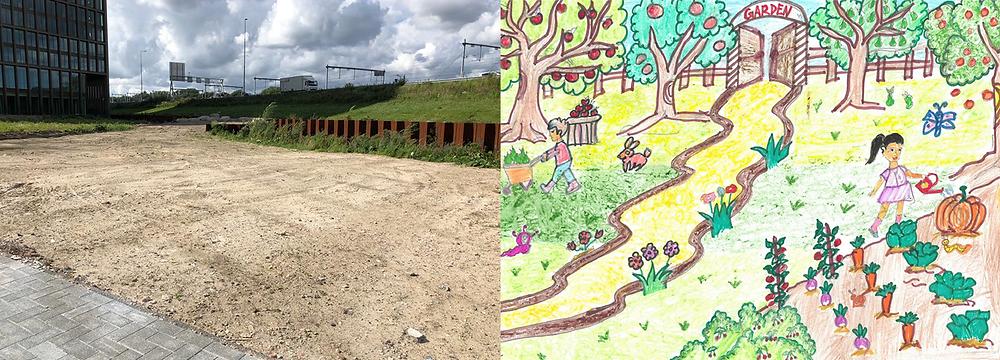 Als het aan de schoolkinderen van Amsterdam International Community School (AICS) en Green Business Club Zuidas ligt, wordt het terrein links van de afbeelding zo groen als op de tekening rechts. Een groene bedoening voor de kinderen, de Zuidas-medewerkers én de oudere bewoners van Buitenveldert via Welzijnszorg Dynamo.