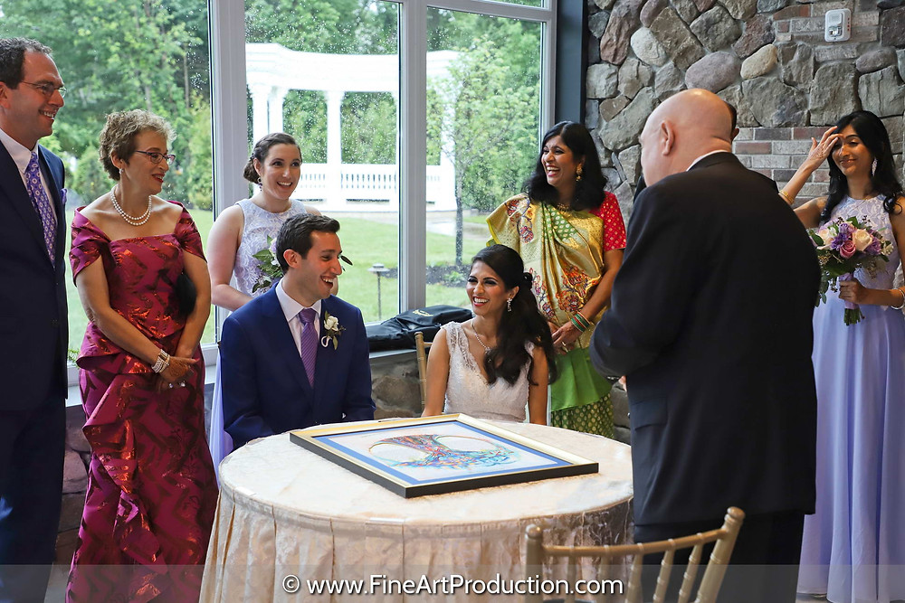 South Indian Bride & Jewish Groom during Jewish Wedding Ceremony at The Marigold Somerset New Jersey