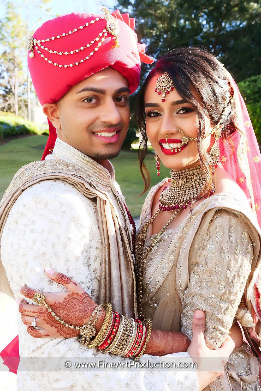 Indian Bridal Couple Portrait Photography by Fine Art Production