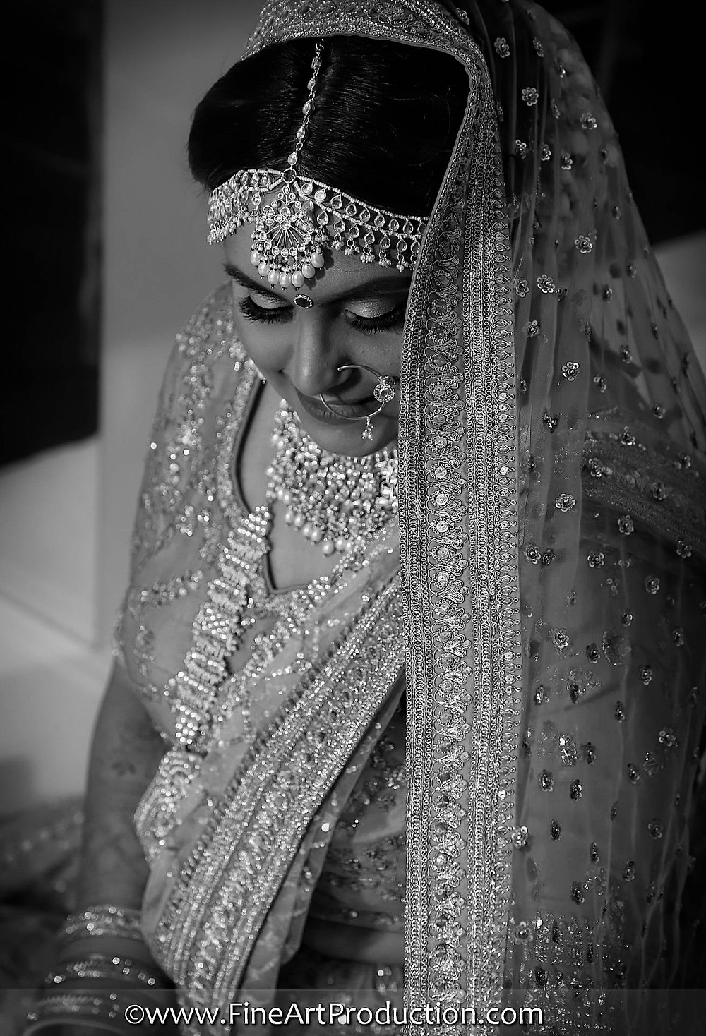 Detail Black and White Portrait of Indian Bride