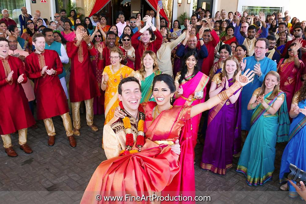 Indian Wedding Baarat during Indian fusion wedding at the marigold Somerset