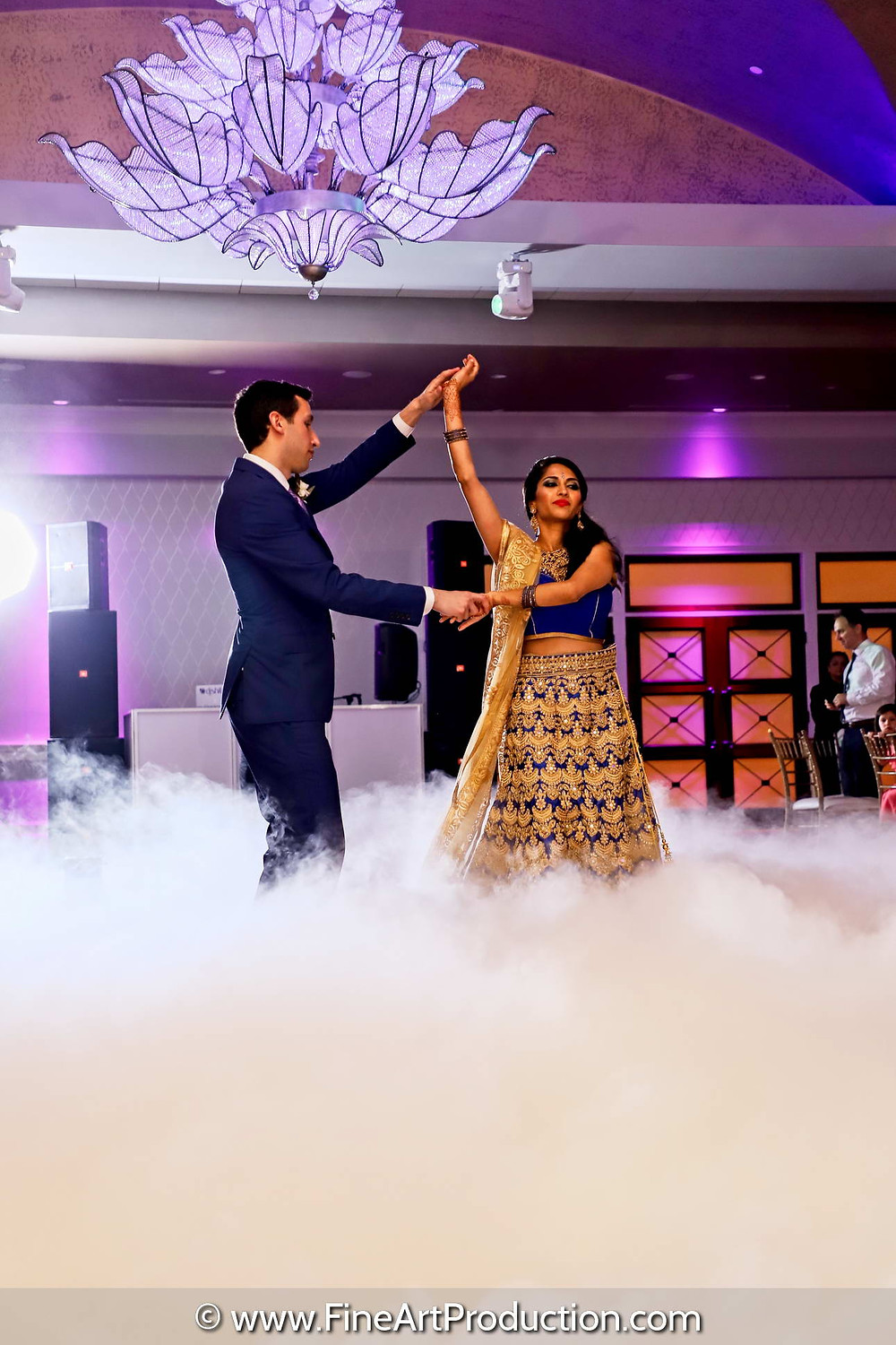 Couple doing their first dance at their wedding reception