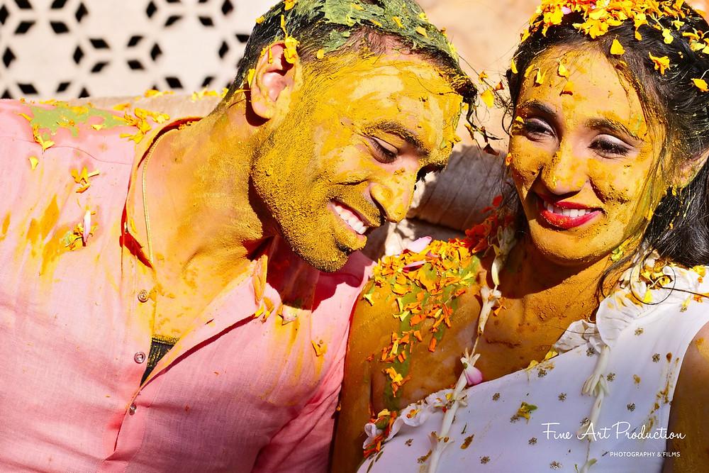 Bride & Groom - Pithi Haldi Ceremony - Gujarati Wedding Tradition