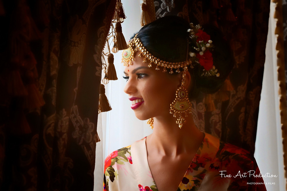 gorgeous indian bride getting ready poses
