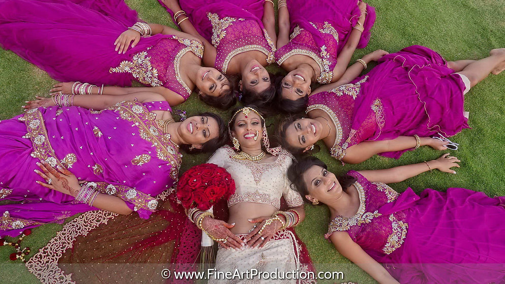 cancun-indian-wedding-bridal-party-photo