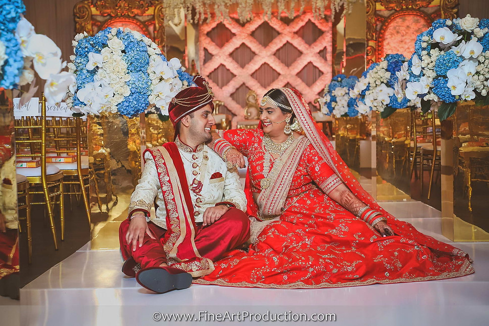 Bride & groom portraits at Wedding Mandap - Indian Wedding Ceremony