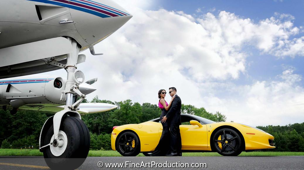exotic-car-and-plane-engagement-photoshoot