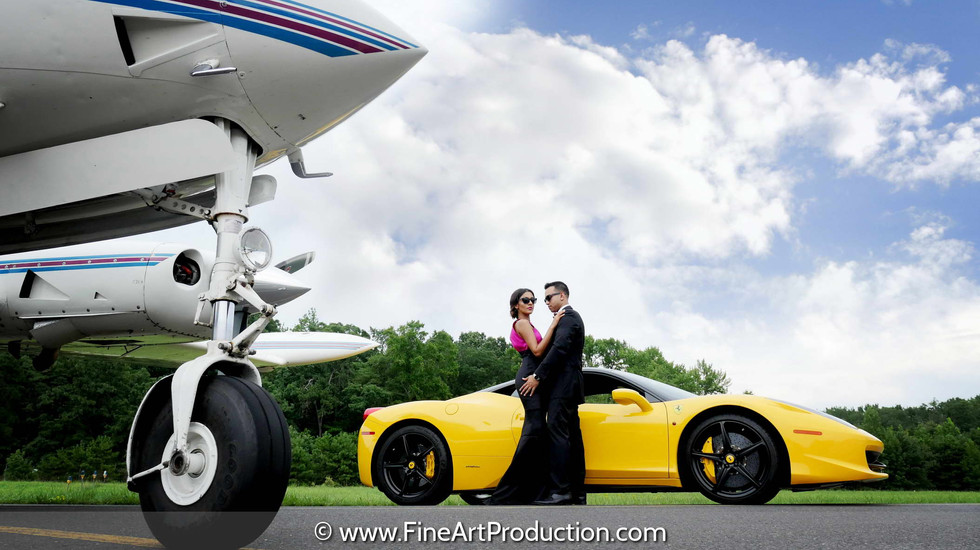 exotic-car-and-plane-engagement-photoshoot