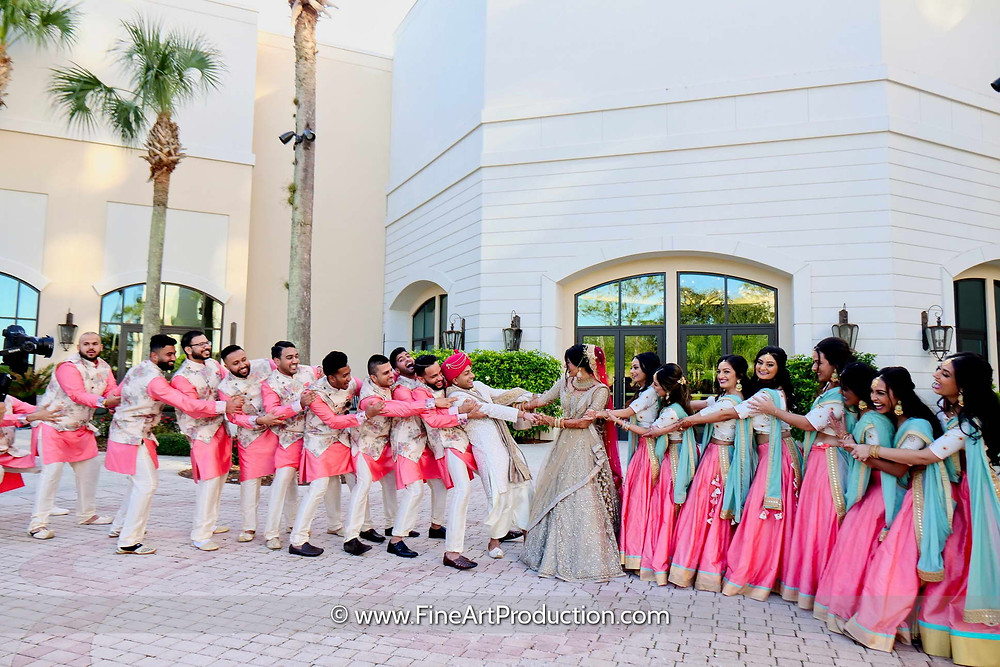 Indian Wedding Bridal Party Photography Idea