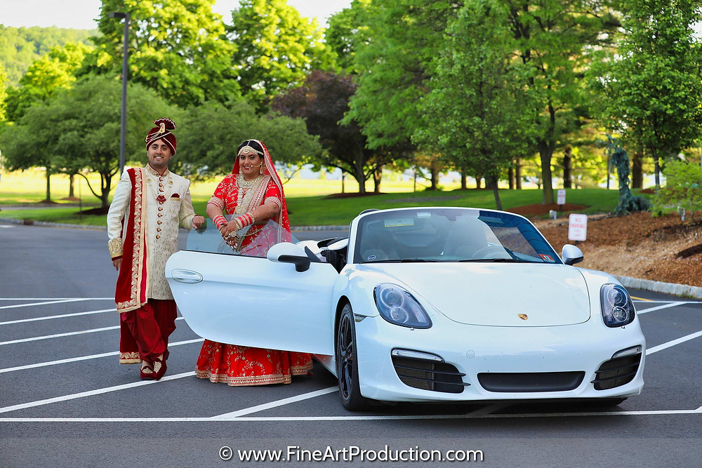 Wedding Couple portrait with Exotic Car