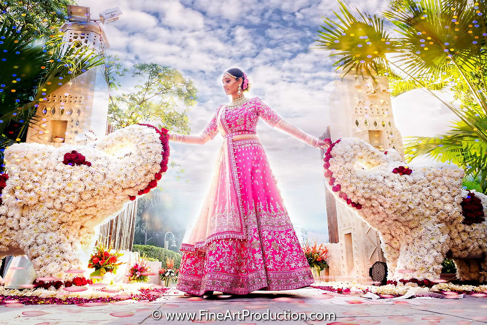 Beautiful Wedding Portrait of an Indian Bride at Ajit Bhawan Palace Jodhpur Rajasthan
