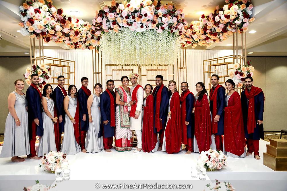 groomsmen and bridesmaids at Indian Wedding
