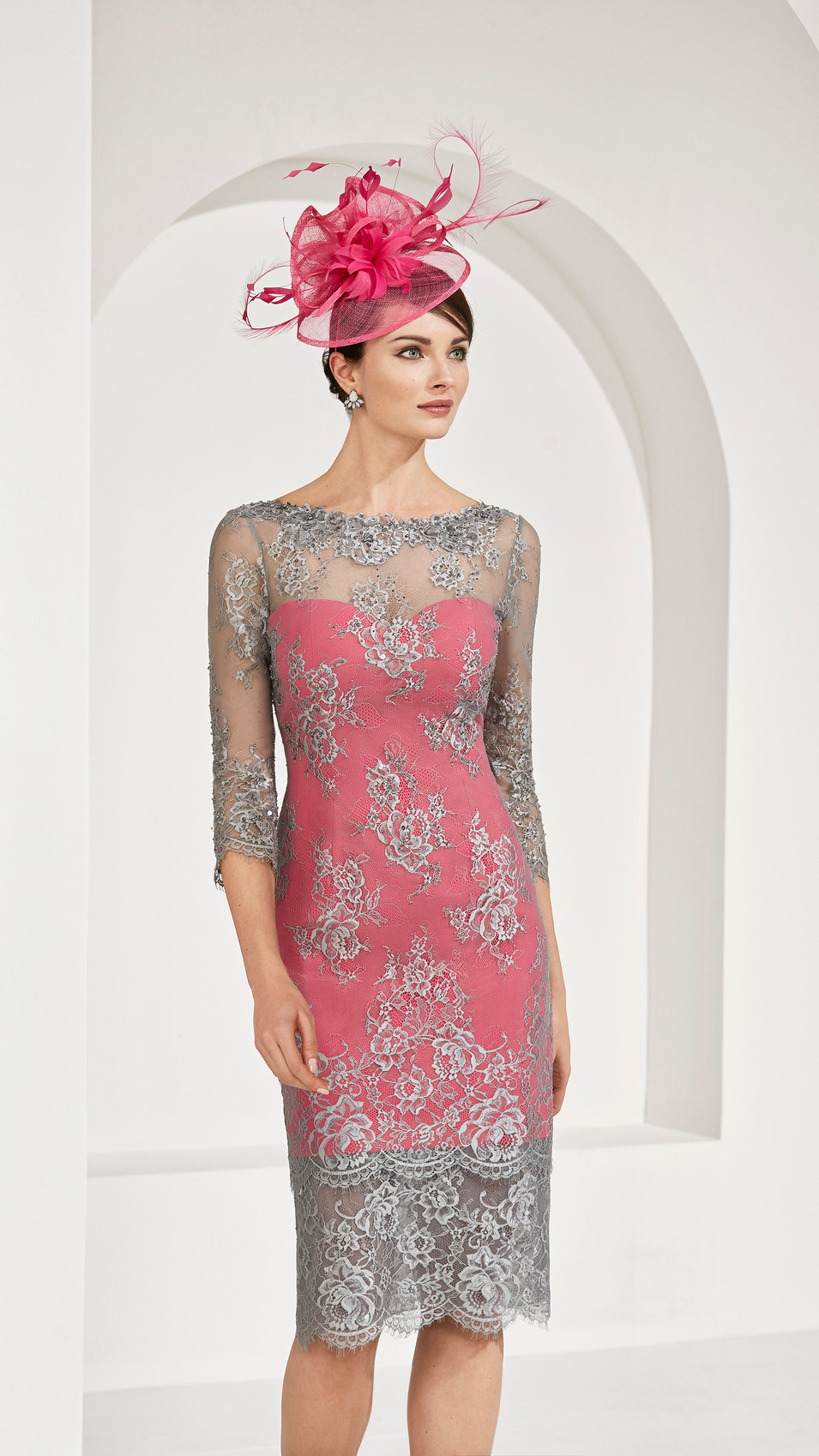 Pink Dress with Grey Overlay