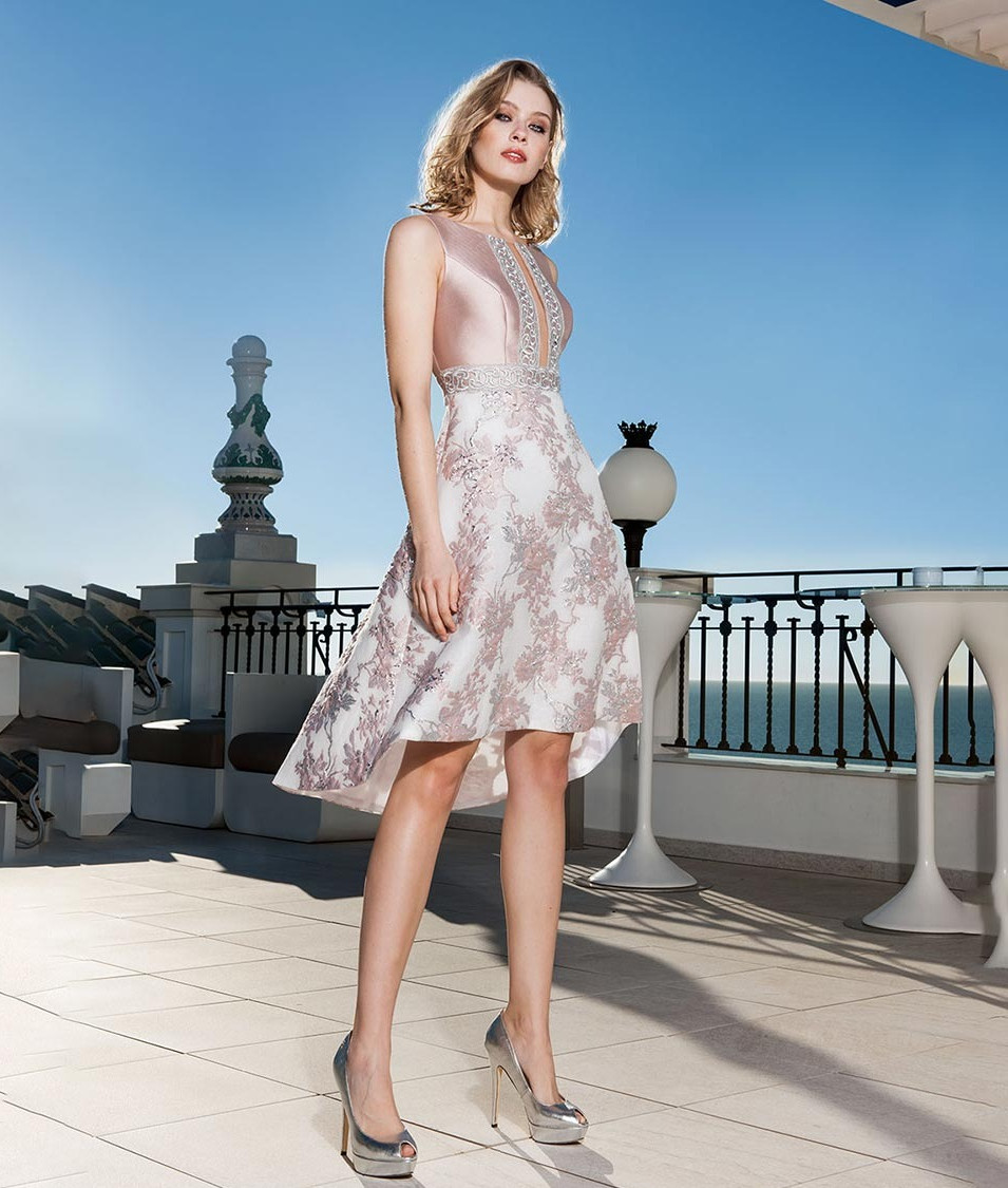 Pink Dip Hem Skater Style Dress