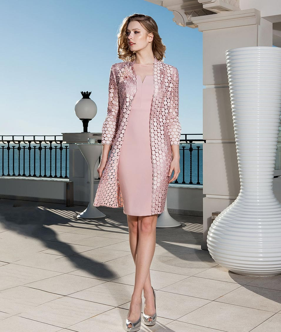 Pink Dress with Circle Jacket