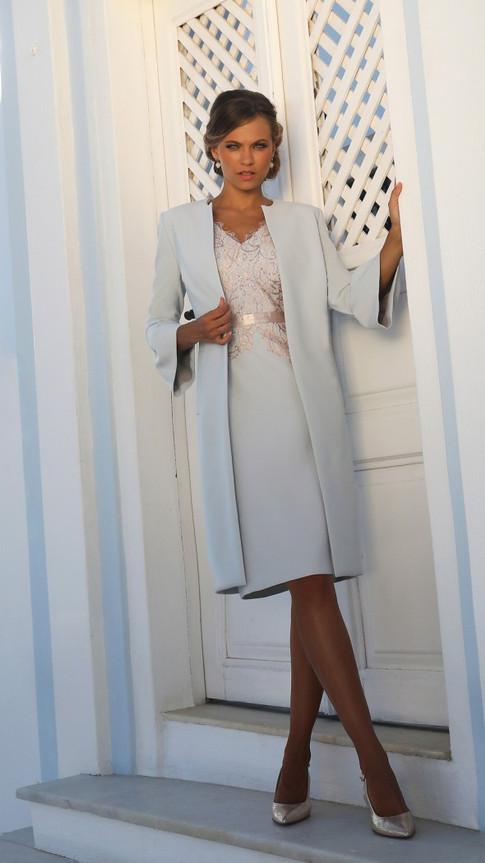 Blue Dress and Longline Jacket