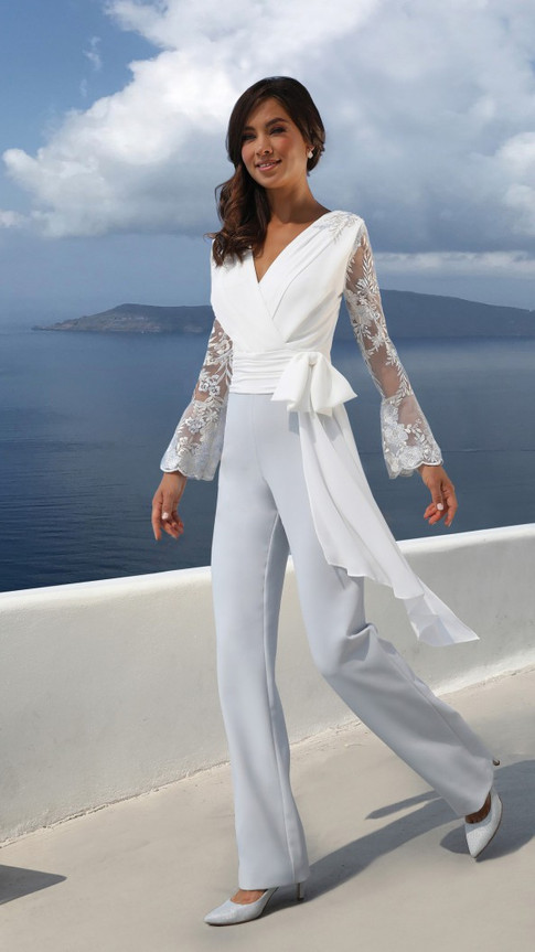 White and Blue Jumpsuit