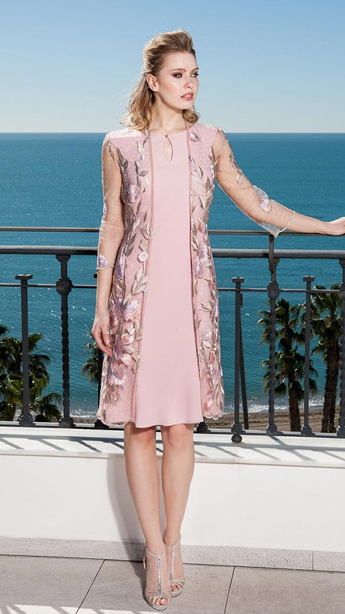 Pink Dress with Floral Embroidered Jacket