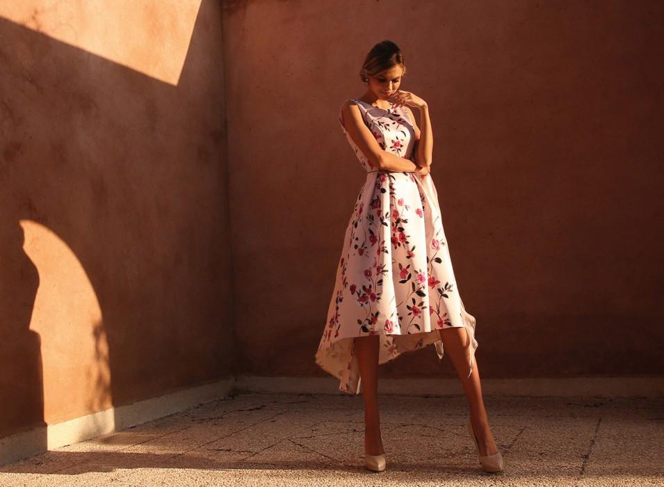 Dip Hem Pink Floral Dress