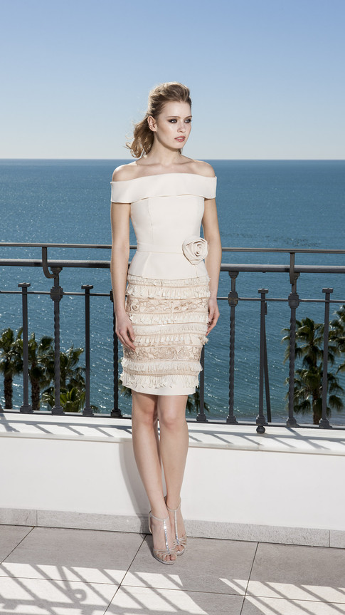 Bardot Cream Dress with Floral Emblem