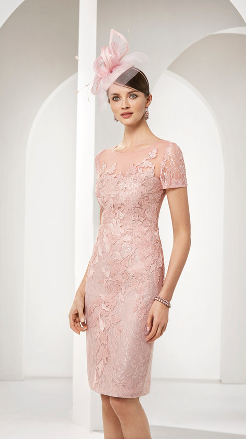 Pink Midi Dress and Sheer Longline Jacket