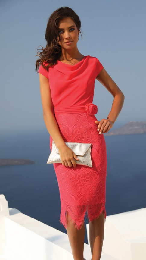 Pink Scoop Neck Dress