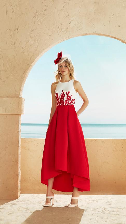 Red Dip Hem Dress with Waist Jacket