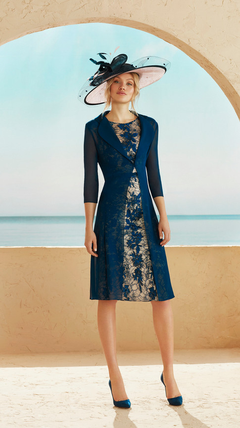 Blue Dress with Sheer Longline Jacket