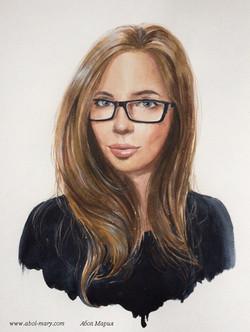 Портрет девушки акварелью