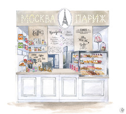 """Эскиз кондитерской """"Москва-Париж"""""""