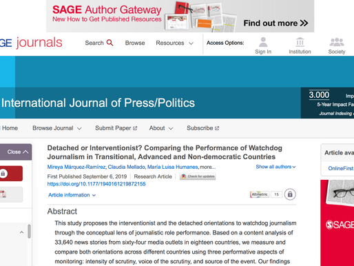 New publication: How does the press perform its watchdog role around the world?