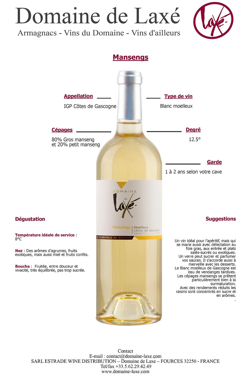 Côtes de Gascogne blanc moelleux