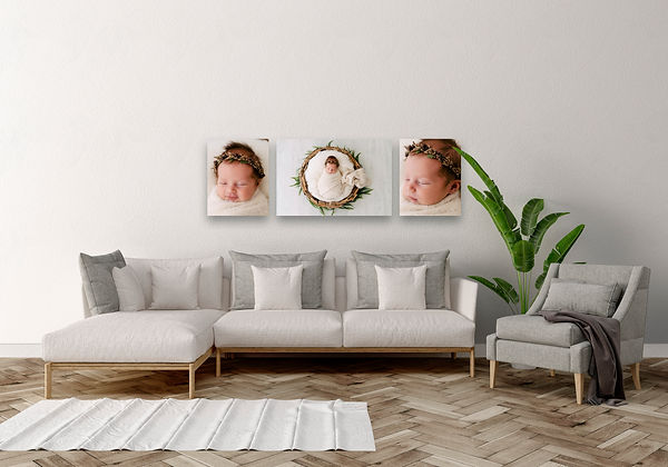 Canvases of Newborn baby hanging on wall