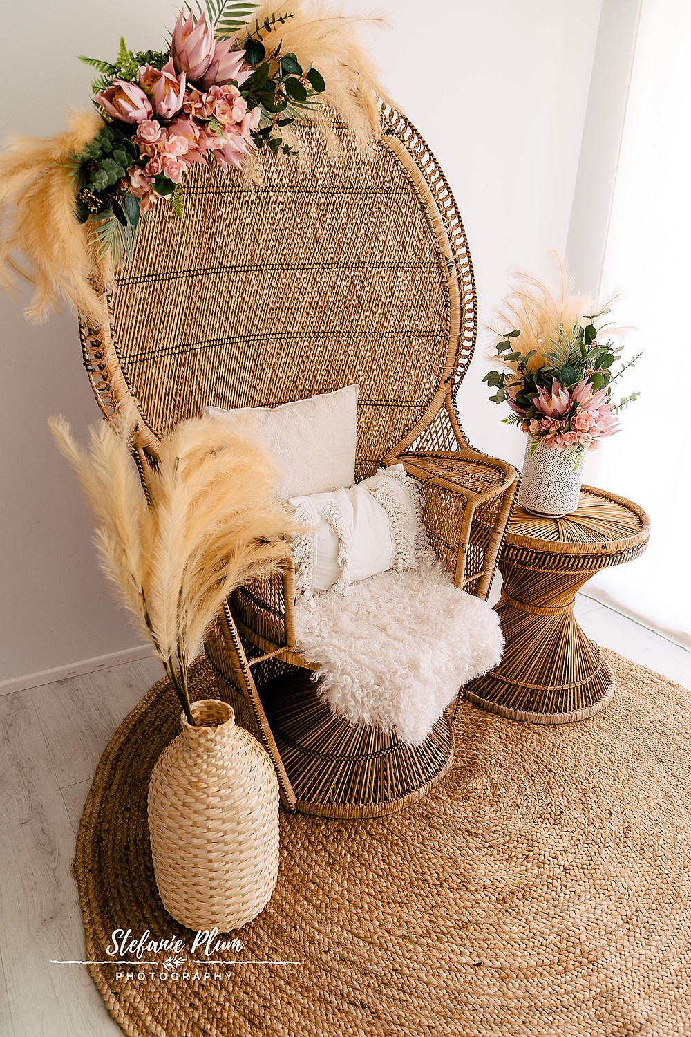 Peacock Chair with flowers