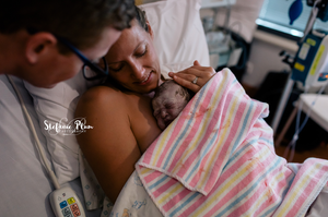 skin to skin baby and mother in hospital room