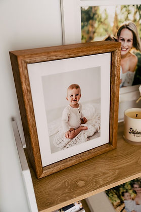 Wooden print box with a baby on the front