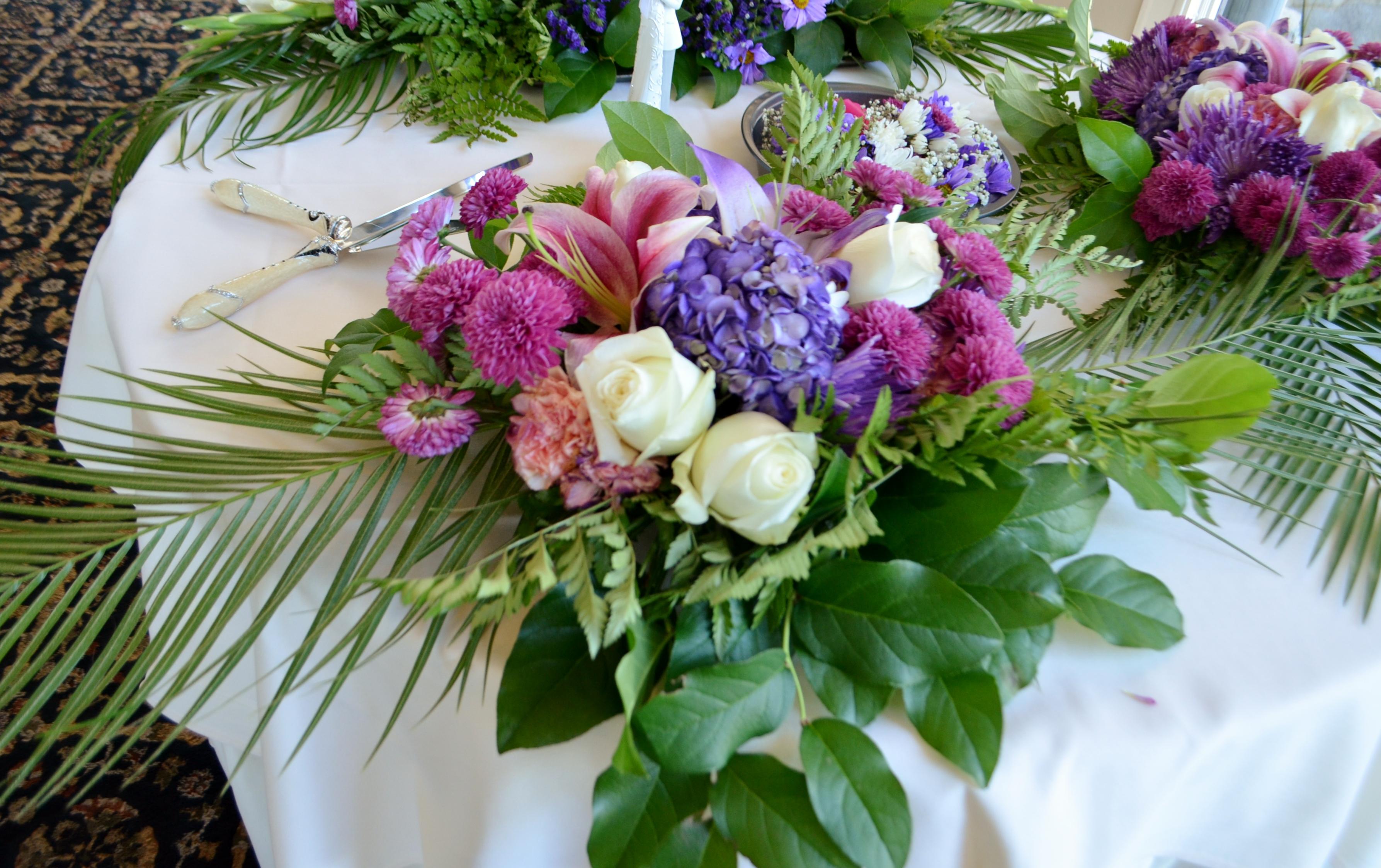 Tropical wedding gazebo flowers