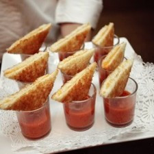mini grilled cheese and tomato soup shots