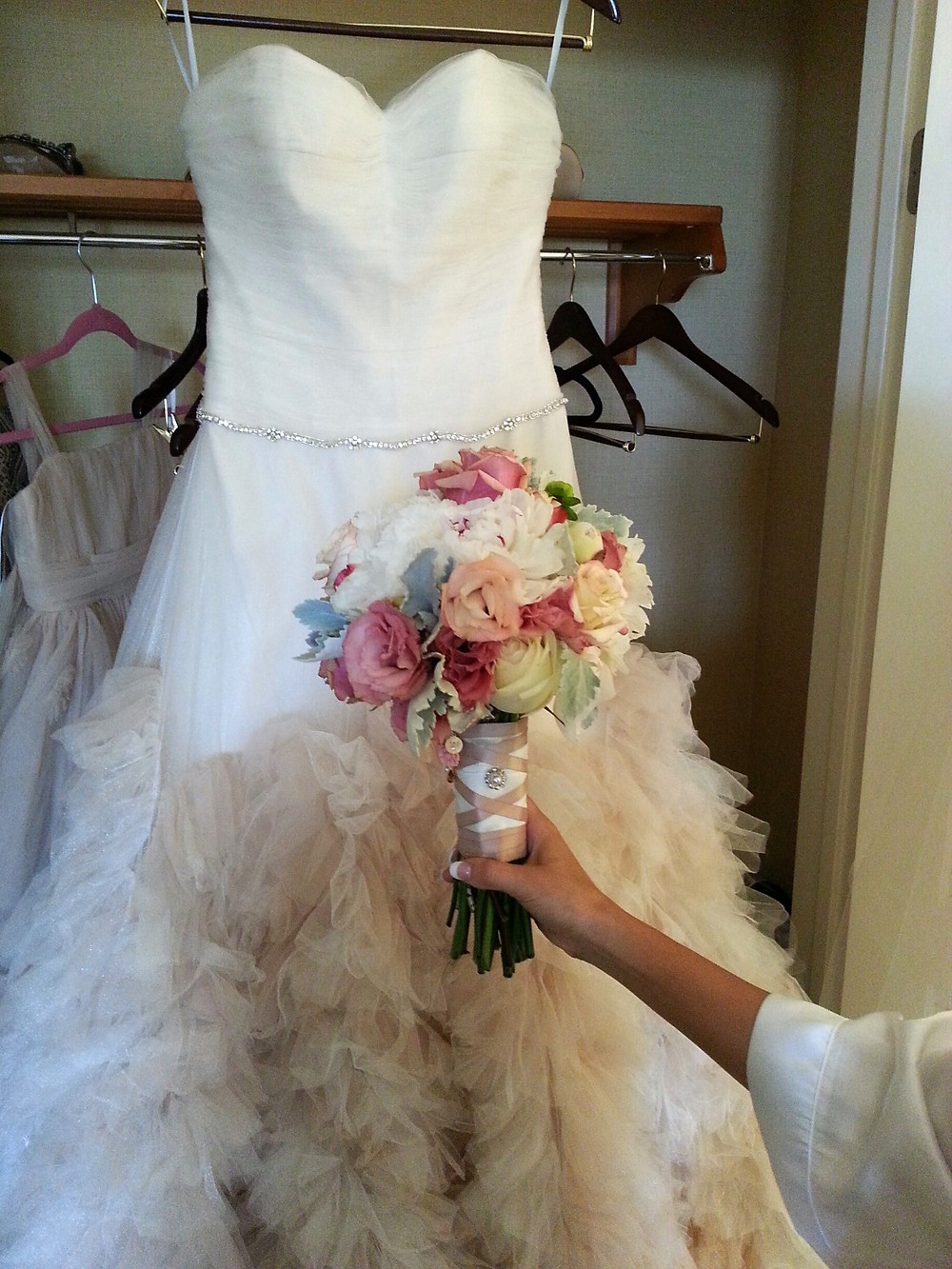 Peony Roses Dusty Miller Bridal Bouquet by Dolce Vita Events